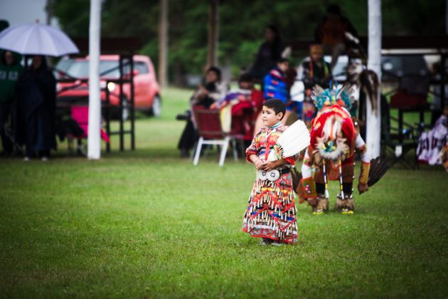Alex Cameron Jr., 7, performs at a two-spirit powwow in Duck Lake, Sask. in
