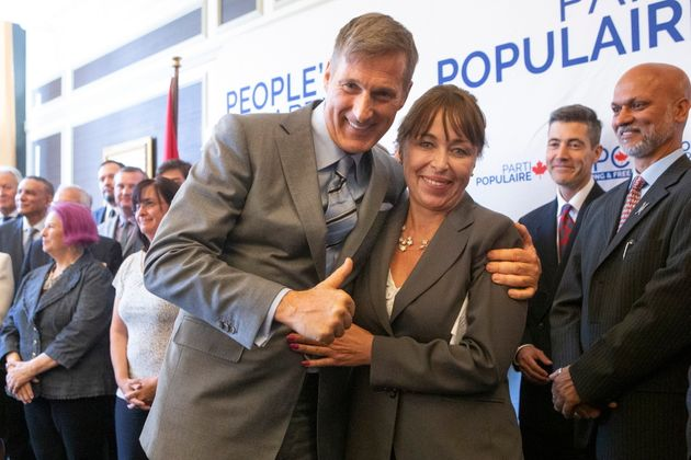 People's Party of Canada Leader Maxime Bernier poses for a photo with candidate Renata Ford, wife of the late Toronto mayor Rob Ford, at an announcement in Toronto on June 21, 2019.