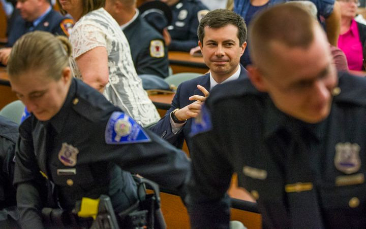South Bend, Indiana, Mayor Pete Buttigieg attends the city's police officer swearing-in ceremony on Wednesday, days after a w