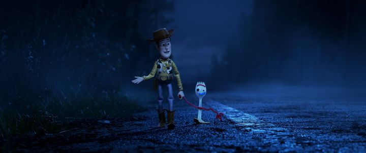 "Woody and Forky in ""Toy Story 4,"" written by Stephany Folsom and Andrew Stanton."