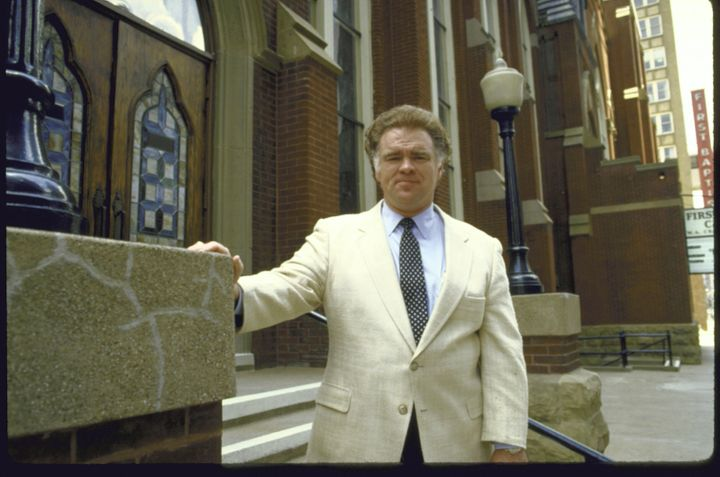 An archival photo shows Paige Patterson at First Baptist Church in Dallas.