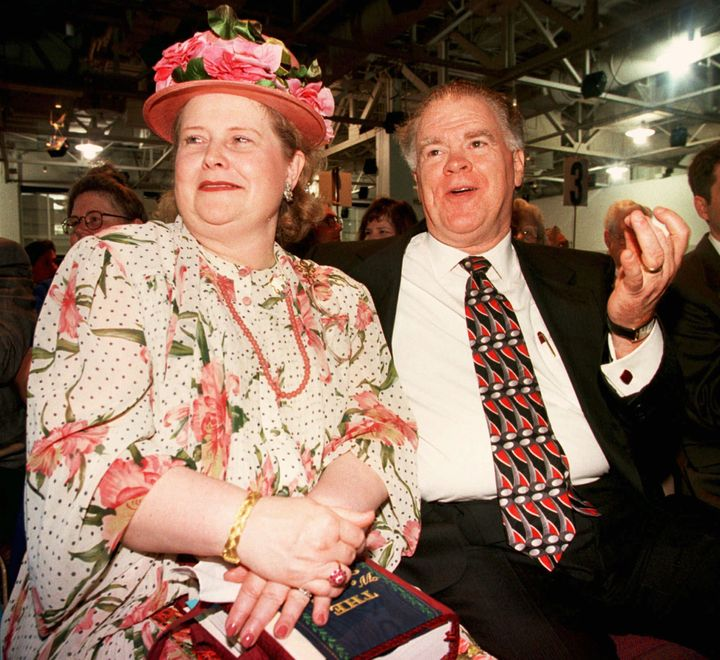 Paige Patterson and his wife, Dorothy, take part in a meeting after he was elected as Southern Baptist Convention president o