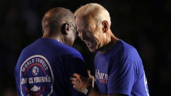 "COLUMBIA, SOUTH CAROLINA - JUNE 21: Democratic presidential candidate former Vice President Joe Biden greets Rep. Jim Clyburn (D-SC) speaks at Clyburn's ""World Famous Fish Fry"" on June 21, 2019 in Columbia, South Carolina. Twenty-two Democratic presidential candidates are scheduled to appear in South Carolina this weekend as the state Democratic party hosts its annual convention. (Photo by Win McNamee/Getty Images)"