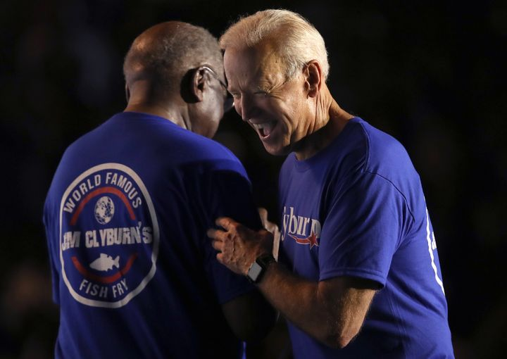 Former Vice President Joe Biden and House Majority Whip James Clyburn share a moment at South Carolina's annual &ld