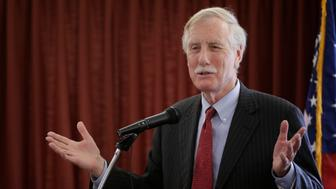 Independent Sen. Angus King speaks, Friday, May 16, 2014, at the Margaret Chase Smith Library in Skowhegan, Maine.(AP Photo/Robert F. Bukaty)