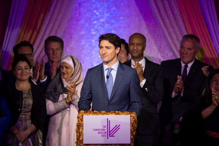Prime Minister Justin Trudeau speaking at the Eid Dinner hosted by The Canadian-Muslim Vote in Toronto, on June 21, 2019.