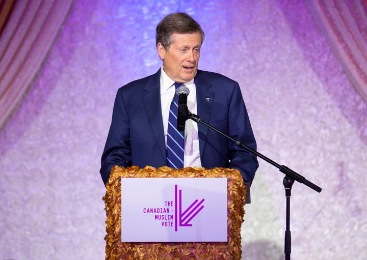 Toronto Mayor John Tory at the Eid Dinner hosted by The Canadian-Muslim Vote, in Toronto, on June 21, 2019.