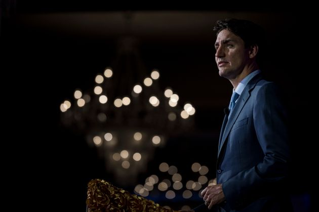 Prime Minister Justin Trudeau is joined by members of the Liberal caucus at the Canadian Muslim Vote's...