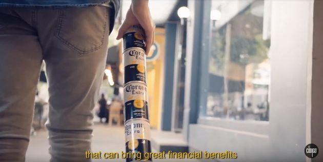 코로나 맥주가 플라스틱 줄이기 위한 캔맥주 디자인을
