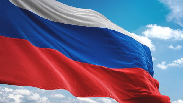 Russia flag waving cloudy sky background realistic 3d illustration