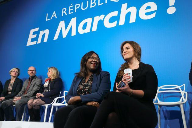 Laeticia Avia et Marlène Schiappa lors d'un meeting LREM à Paris le 24 janvier