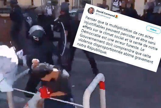 Sur cette vidéo amateur, un policier est filmé en train d'asséner plusieurs coups...