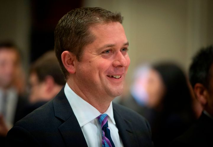 Andrew Scheer smiles during an event at the Montreal Council on Foreign Relations on May 7, 2019.