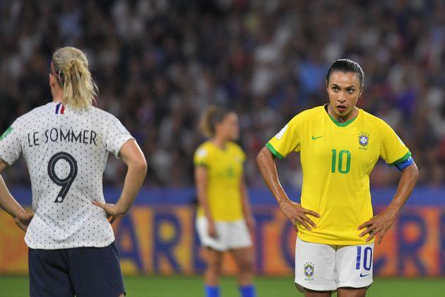 Marta em partida do Brasil contra a França na Copa