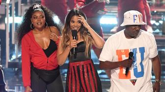 LOS ANGELES, CALIFORNIA - JUNE 23: (L-R) Taraji P. Henson and host Regina Hall speak onstage at the 2019 BET Awards on June 23, 2019 in Los Angeles, California. (Photo by Kevin Winter/Getty Images)
