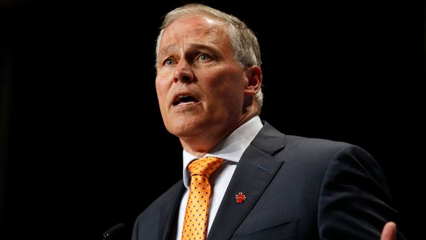 Democratic presidential candidate Washington Gov. Jay Inslee speaks during the Iowa Democratic Party's Hall of Fame Celebration, Sunday, June 9, 2019, in Cedar Rapids, Iowa. (AP Photo/Charlie Neibergall)