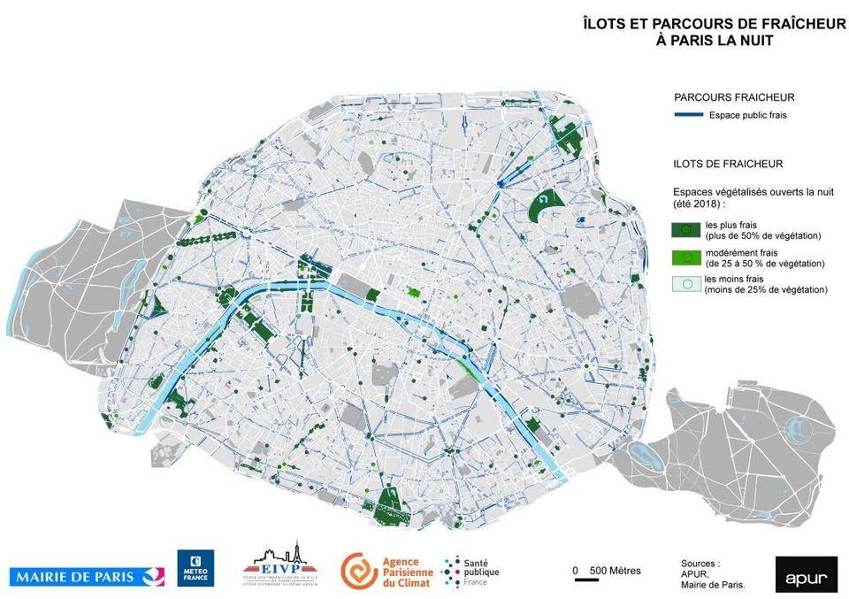 Pour la canicule, une carte de Paris pour trouver des