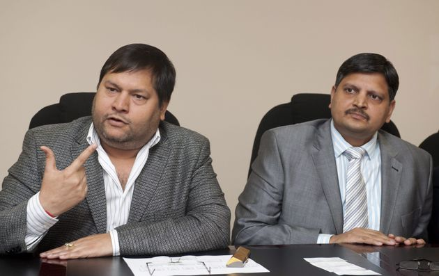 Ajay Gupta (R) and younger brother Atul Gupta at a one on one interview with Business Day in Johannesburg,...