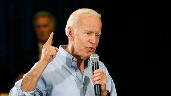 FILE - In this June 12, 2019, file photo, Democratic presidential candidate former Vice President Joe Biden speaks at Clinton Community College in Clinton, Iowa. Biden has sat atop the crowded Democratic presidential field from virtually the moment he joined the race. But his recent fumbles on abortion and race are a reminder that early front-runners often face the most intense scrutiny. (AP Photo/Charlie Neibergall, File)