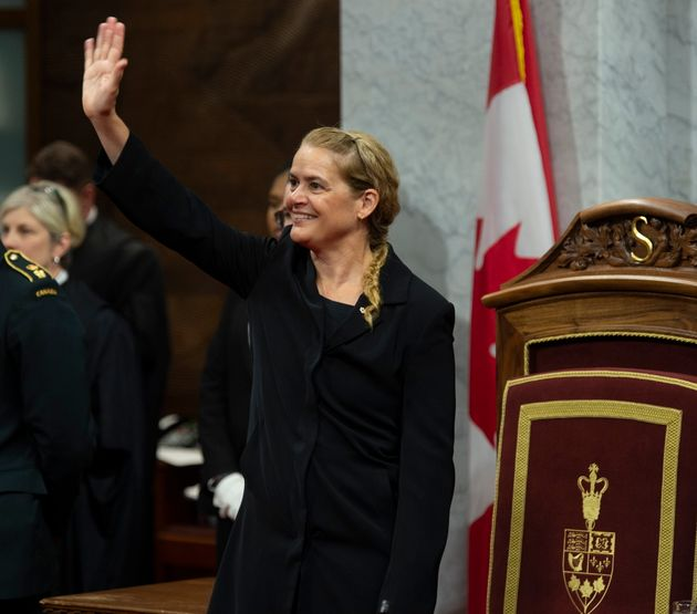Governor General Julie Payette waves to the gallery as she waits for members of Parliament to arrive...
