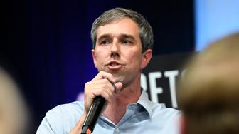 Democratic presidential candidate Beto O'Rourke addresses the South Carolina Democratic Party convention, Saturday, June 22, 2019 in Columbia, S.C.. (AP Photo/Meg Kinnard)