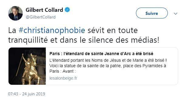 Non, la statue de Jeanne d'Arc du 1er arrondissement n'a pas été