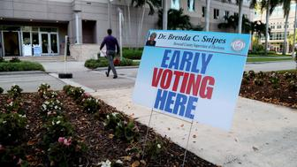 Early voting begins on Monday, Oct. 22, 2018 at Nova Southeastern University in Davie, Fla. Universities throughout the state are being added to the list of early-voting sites thanks to a federal court striking down a statewide ban on campus voting. (Susan Stocker/Sun Sentinel/TNS via Getty Images)