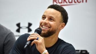 Stephen Curry, US basketball player from the Golden State Warriors of the National Basketball Association (NBA), speaks during a press conference following his Underrated Tour, a series of basketball camps for high school players, at a university in Tokyo on June 23, 2019. (Photo by Kazuhiro NOGI / AFP)        (Photo credit should read KAZUHIRO NOGI/AFP/Getty Images)