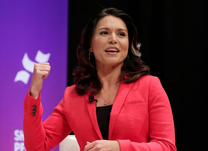 Rep. Tulsi Gabbard (D-Hawaii) answers questions at a She the People presidential forum at Texas State University in April.