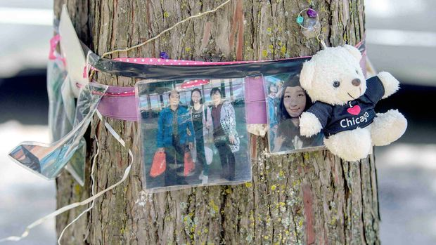Photos of Yingying Zhang are seen on a tree along North Goodwin Avenue outside of Campbell Hall Thursday, June 13, 2019, on the University of Illinois campus in Urbana, Ill. (Stephen Haas/The News-Gazette via AP)