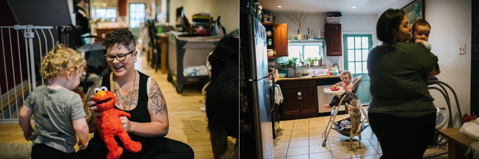 Left: Des plays with their son, August Garcia-Stage, at their home on June 20, 2019. Right: Gus eats lunch while Fel holds their daughter, Theodora Garcia-Stage.