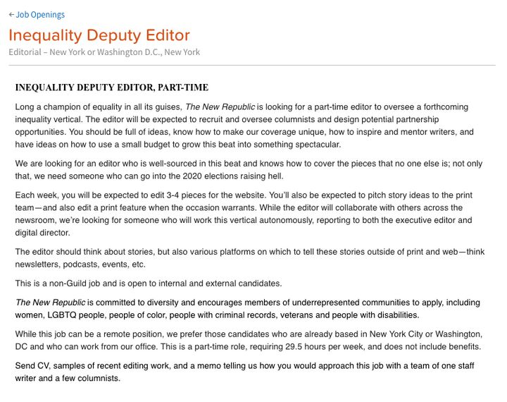 "The job posting for an ""Inequality Editor"" at the New Republic."