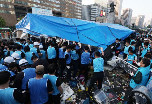 대한애국당 천막 46일 만에 강제 철거한 서울시의 한 마디
