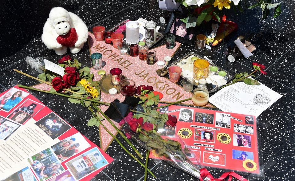 Floral tributes placed on the Hollywood Walk Of Fame to mark the 5th anniversary of Jackson's death in a