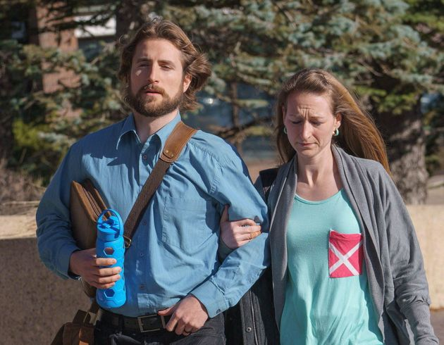 David Stephan and his wife, Collet Stephan, are seen here arriving at a courthouse in Lethbridge, Alta., on March 10, 2016.
