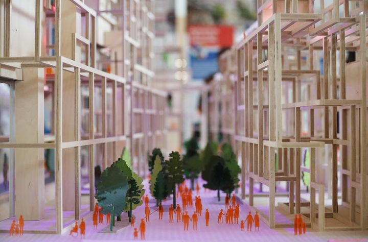 A picture of Sidewalk Labs' conceptual scale model of Toronto's Quayside development, released June 24, 2019. All the buildings will timber, topping out at 35 stories.