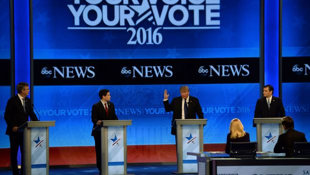 Republican presidential candidates participate in the Republican Presidential Candidates Debate on February 6, 2016 at St. Anselm's College Institute of Politics in Manchester, New Hampshire. From left are: Jeb Bush, Marco Rubio, Donald Trump, and Ted Cruz. Seven Republicans campaigning to be US president are in a fight for survival in their last debate Saturday before the New Hampshire primary, battling to win over a significant number of undecided voters. / AFP / JEWEL SAMAD        (Photo credit should read JEWEL SAMAD/AFP/Getty Images)