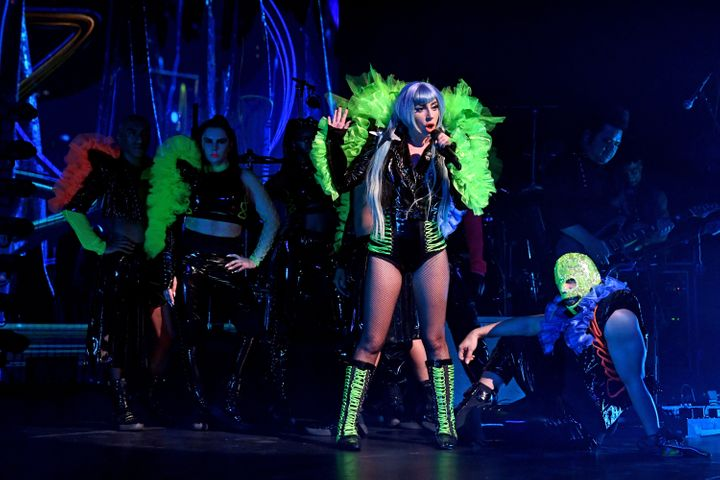 Lady Gaga gave a shoutout to Pride Week during a performance at the Apollo Theater.