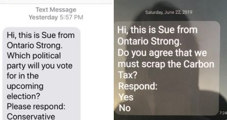 A screengrab of texts from 'Ontario Strong' shared by Liberal MP Pam