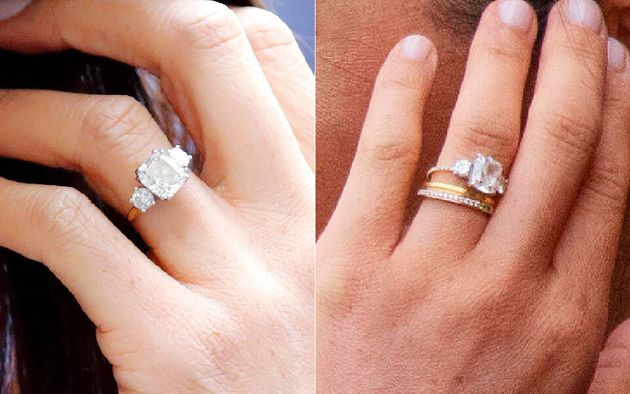 Meghan's original band on left, and her updated band (and new eternity ring) on the