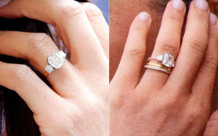 Meghan's original band on left, and her updated band (and new eternity ring) on the right.