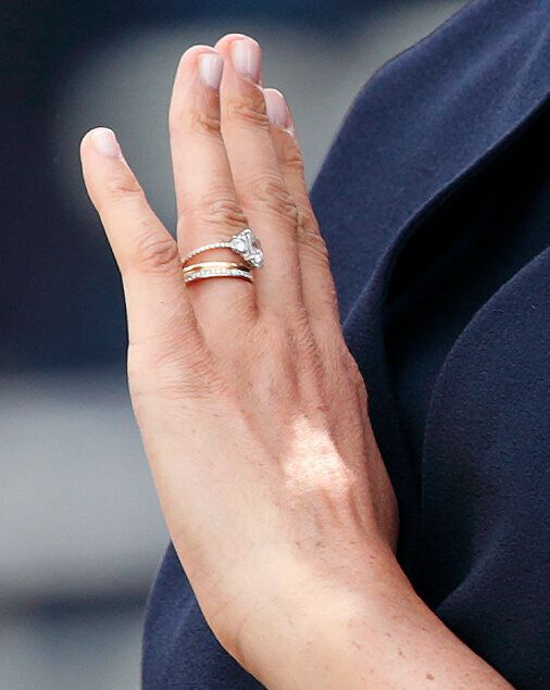 A look at Meghan's ring detail at Trooping the Colour.