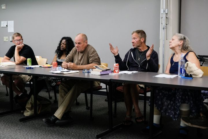 Members of the Austin Homelessness Advisory Committee meet at Terrazas Branch Library in Austin, Texas, on May 13, 2019.