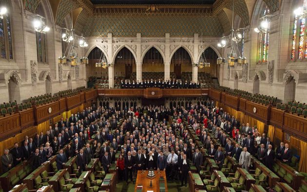 Members of the House of Commons pose for a photo in the chamber before question period in the House of...