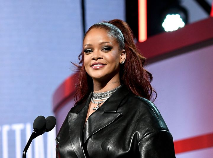 Rihanna appears on stage at the BET Awards in Los Angeles on Sunday.