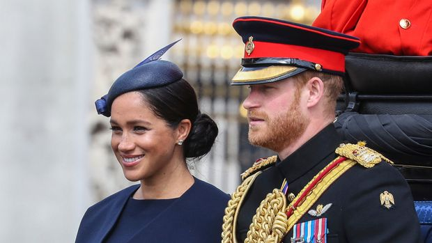 Camilla, Duchess of Cornwall, Charles, Prince of Wales, Queen Elizabeth II, Prince Andrew, Duke of York, Prince Harry, Duke of Sussex and Meghan Duchess of Sussex along with other members of the Royal family on the balcony of Buckingham Palace during Trooping The Colour, the Queen's annual birthday parade in London. Credit: Matrix / MediaPunch ****** /IPX