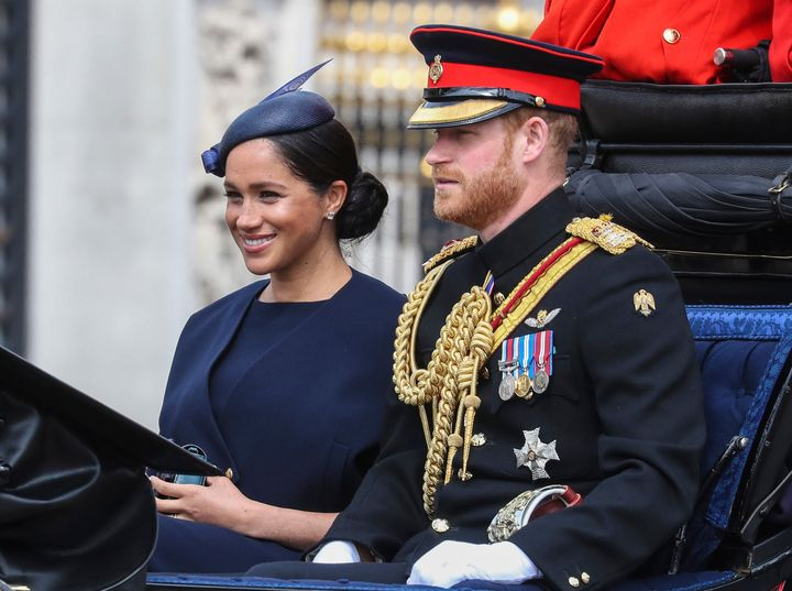 The Duke and Duchess of Sussex at Trooping The Colour, the Queen's annual birthday parade in London.