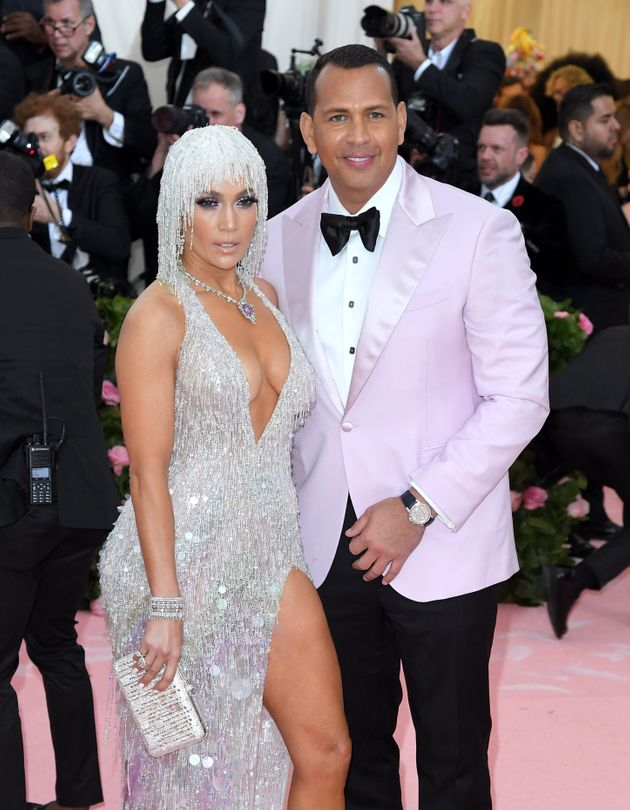 Jennifer Lopez and Alex Rodriguez arrive for the 2019 Met Gala at the Metropolitan Museum of Art on May...