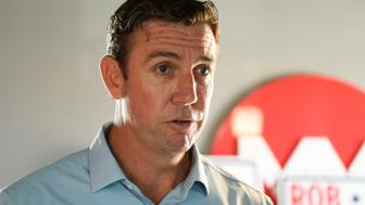 FILE - In this Tuesday, Nov. 6, 2018 photo Rep. Duncan Hunter, R-Calif., speaks during an interview at a call center on in Santee, Calif. Hunter is returning to court for the first time since being re-elected to a sixth term amid corruption charges. The California congressman and is wife have pleaded not guilty to a 60-count indictment alleging they spent more than $250,000 in campaign finance funds on everything from family trips to tequila shots. (AP Photo/Denis Poroy, File)