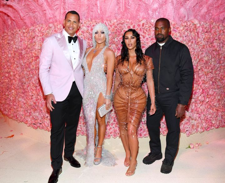 Alex Rodriguez, Jennifer Lopez, Kim Kardashian and Kanye West attend the 2019 Met Gala at the Metropolitan Museum of Art on M